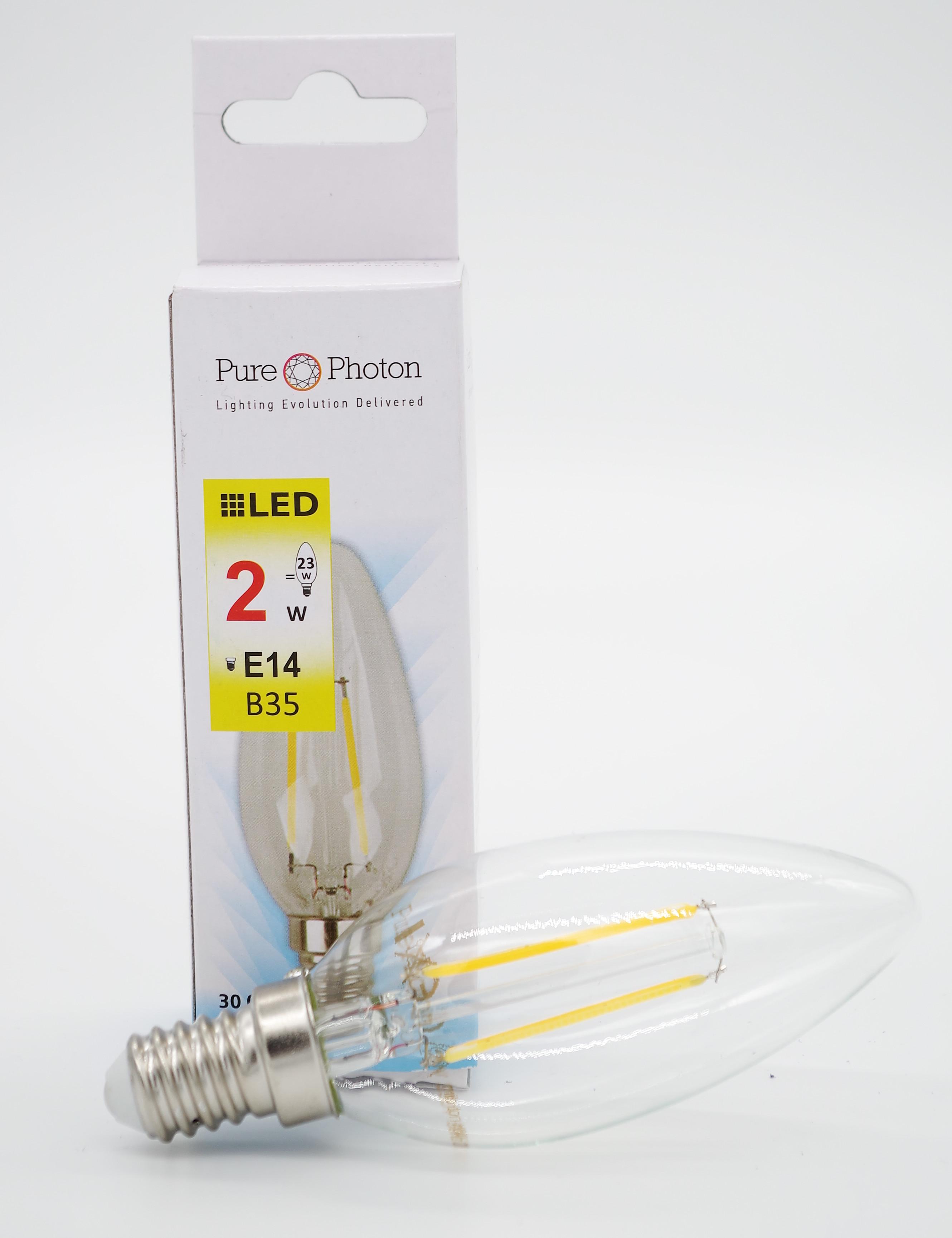2w e14 candle filament bulb warm white non dimmable pure photon. Black Bedroom Furniture Sets. Home Design Ideas